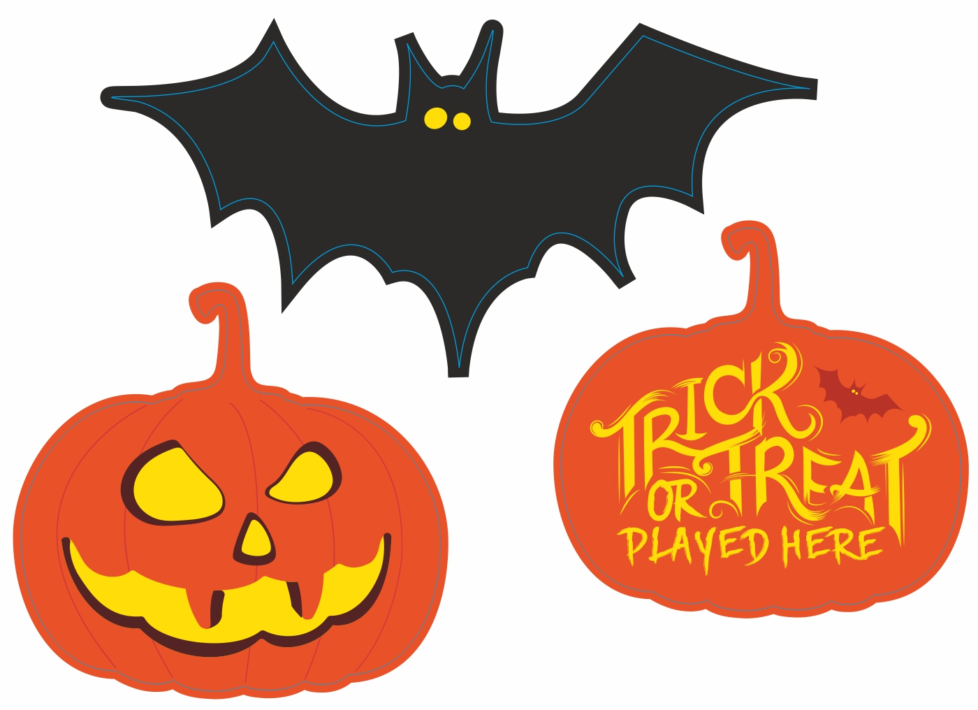 Halloween Signs printed and cut to shape - Bats and Pumpkins