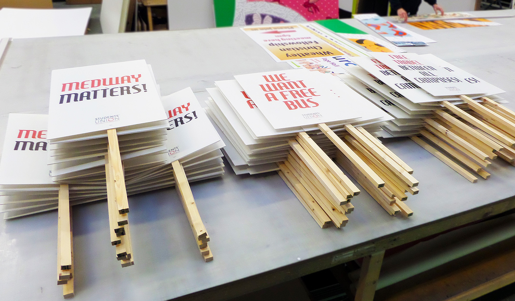 Picketing placards printed for student union
