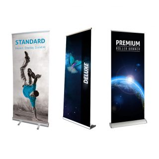 800mm wide roller banners - standard, deluxe, premium pull up banners